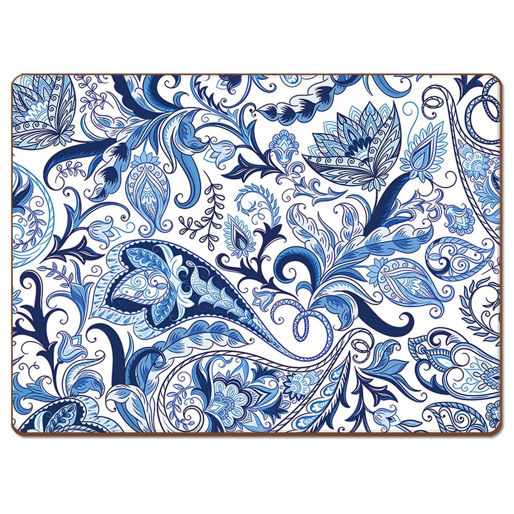NEW-Cala-Home-Hardboard-Placemat-Set-Blue-Paisley-4pce thumbnail 3