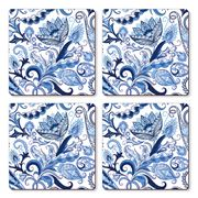 Cala Home - Hardboard Coaster Set Blue Paisley 4pce
