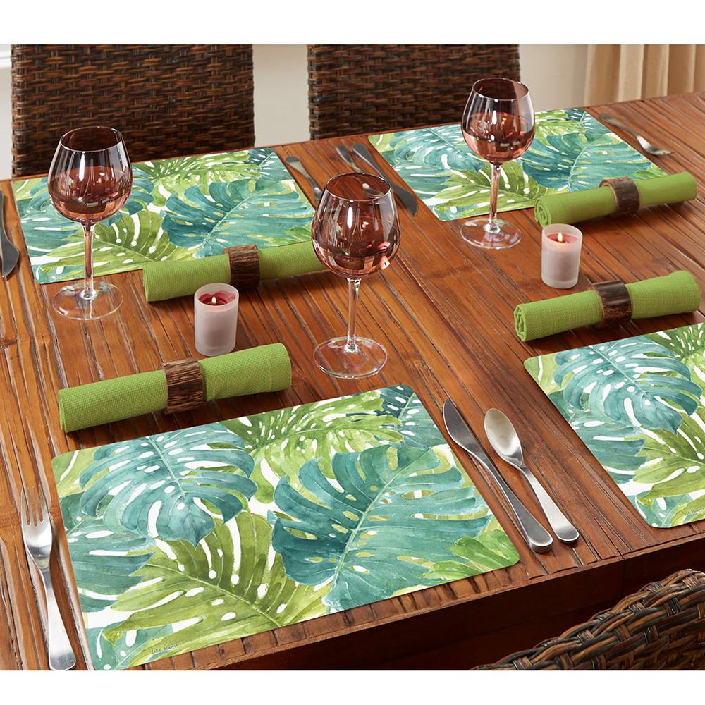 NEW-Cala-Home-Hardboard-Placemat-Set-Tropical-Green-4pce thumbnail 2