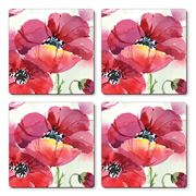 Cala Home - Hardboard Coaster Set Fresh Poppies 4pce