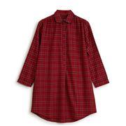 Lexington - Women's Checked Flannel Nightshirt Red Medium