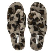 A.Trends - Glam Thong Slippers Ocelot Small/Medium