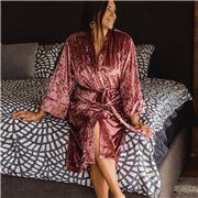 A.Trends - Kimono Crushed Velvet Robe Rose S/M