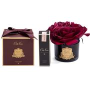Cote Noire - Five Red Roses Black Glass w/ Spray Set 2pce
