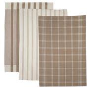 Ogilvies Designs - Regal Tea Towel Taupe Set 3pce