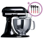 KitchenAid - KSM150 Black Stand Mixer + Culinary Utensil Set