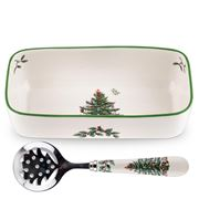 Spode - Christmas Tree Cranberry Server With Slotted Spoon