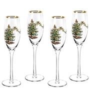 Spode - Christmas Tree Set Of 4 Champagne Flutes