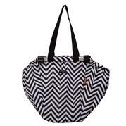 Sachi - Shopping Trolley Bag Chevron Stripe Black & White