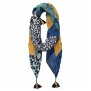 DLUX - Pine Mecca Printed Scarf with Plaited Tassels