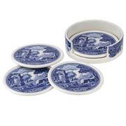 Spode - Blue Italian Ceramic Coasters w/ Holder 5pce