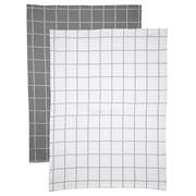 Rans - Cambridge Waffle Tea Towel Set Grey/White 2pce