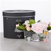 Cote Noire - Vase Oval French Pink Roses w/Black Box