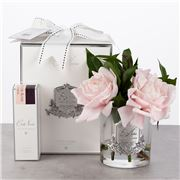 Cote Noire - Pink English Roses in Clear Glass Vase