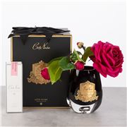 Cote Noire - Carmine Red Tea Rose Cranberry Glass Gold Crest