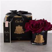 Cote Noire - Five Carmine Red Roses Blue Glass w/Gold Crest