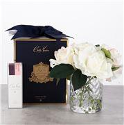 Cote Noire - Herringbone Clear Glass Roses Blush & White