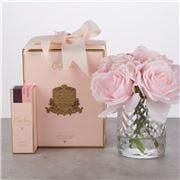 Cote Noire - Pink Roses & Hydrangea Clear Herringbone Glass