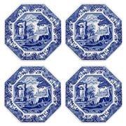 Spode  - Blue Italian Octagonal Plate Set 24cm 4pce