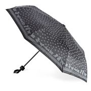 Clifton - Grey Cats On Black Fabric Umbrella with Cat Handle