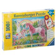 Ravensburger - Magical Unicorns Puzzle w/Colouring Bk 100pce