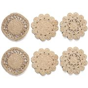 Carnival - Jute Natural Coaster Set 12cm 6pce