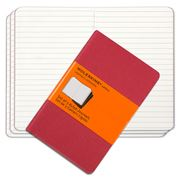 Moleskine - Cahier Pocket Deep Red Ruled Notebook Set 3pce