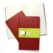 Moleskine - Cahier Large Deep Red Plain Notebook Set 3pce