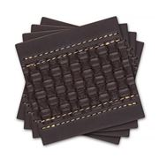 Ladelle - Brown Faux Leather Weave Coaster Set 4pce