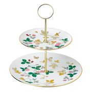 Wedgwood - Wild Strawberry Gold Two Tier Cake Stand