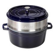 Staub - Round Cocotte & Steamer Insert Dark Blue 26cm/5.25L