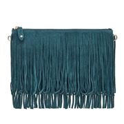 Mighty Purse - Suede Fringe C/Body Bag w/Built-In Chrgr Blue