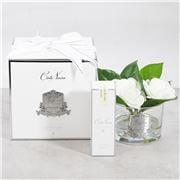 Cote Noire - Triple Gardenia Spray W/Clear Round Glass Vase