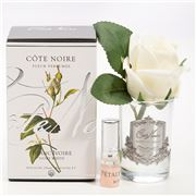 Cote Noire - Ivory White Rose Bud Glass w/Silver Crest