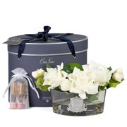 Cote Noire - Luxury Oval Ivory White Rose w/Spray