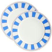Noritake - Carnivale Cake Plate Set Dark Blue 2pce  21cm