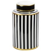 Luxe By Peter's - Porcelain Jar Black & White Stripe 31cm
