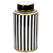 Luxe By Peter's - Porcelain Jar Black & White Stripe 40cm