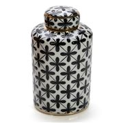 Luxe By Peter's - Tanger Lidded Jar Blk/White 12.5x21x12.5cm
