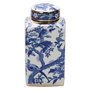 Luxe By Peter's - Bluebirds Porcelain Jar W/Lid  22x33cm