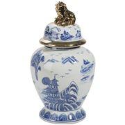 Luxe By Peter's - Beijing Porcelain Jar w/Lid Wht/Blue/Gold