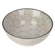 Gusta - Grey Round Bowl Waves & Mosaic 12cm