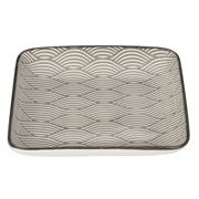 Gusta - Grey Square Plate Waves 12.5x12.5cm