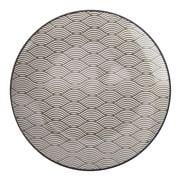 Gusta - Grey Round Plate Waves 21.5cm
