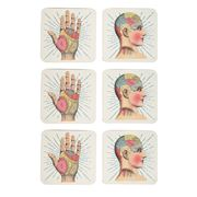 Luxe By Peter's - Phrenology & Palmistry Coasters Set 6pce