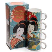 Luxe By Peter's - Geisha Set Of Mugs Blue 4pce