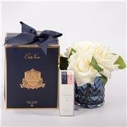 Cote Noire - Herringbone White Roses Scent In Blue Vase
