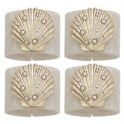 Joanna Buchanan - Shell Resin Napkin Ring Set Pearl/Whte 4pc