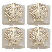 Joanna Buchanan - Shell Resin Napkin Ring Pearl/Whte Set 4pc
