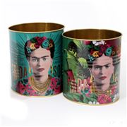 Luxe By Peter's - Frida Kahlo Storage Tin Set Green 2pce